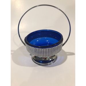 Silver and Cobalt Blue Glass Dish